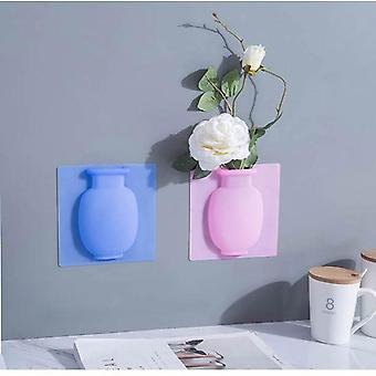 Silicone Easy Removable Wall And Fridge Sticky Magic Flower Plant Vases - Diy