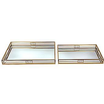 Spura Home Rectangular Perfect Storage Organizer Top Mirrored Table Tray