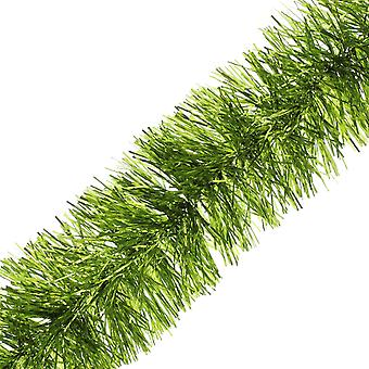 2m x 7.5cm Lime Green Fine Cut Tinsel Kerstboom Decoratie