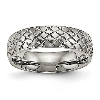 Titanio de 6mm pulido anillo texturado - tamaño del anillo: 6 a 13