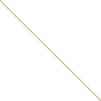 14k Yellow Gold Solid Polished Hollow bead Lobster Claw Closure 1.2mm Sparkle Cut Baby Ball Chain Ankle Bracelet Jewelry