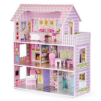 Wooden dollhouse with LED lighting pink 60x27x70 cm