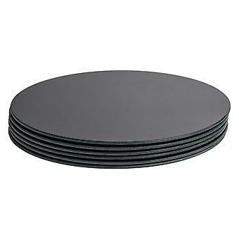 6 Piece Glass Dining Table Placemat Set - Modern Style Round Tablemat - Black - 30cm