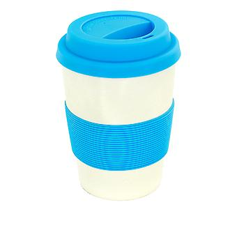 Rink Drink Bambu Copo de Café Reusable com Tampa de Silicone e Manga - 350ml - Azul