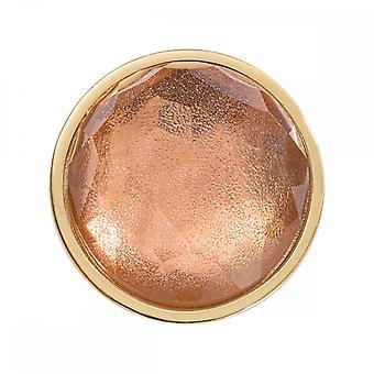 Nikki Lissoni Pêssego Marrom Vidro Óptico Pequeno Ouro Banhado Moeda C1542GS