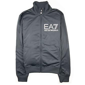 EA7 Large Silver Logo Tracksuit Top Night Blue