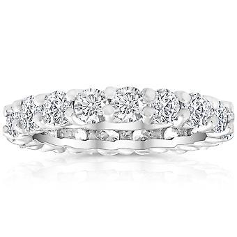 2 Ct Lab Created Moissanite Eternity Ring Womens Wedding Band 14k White Gold