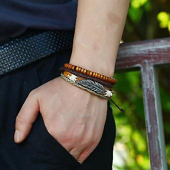 Vintage Leaf Pendant Leather Bracelet Wooden Beads Multi-layer Bracelets Ethnic
