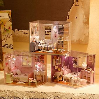 3d Diy Sunshine Series-3 Stlys Diy Blocks  With Furniture Led Lights House