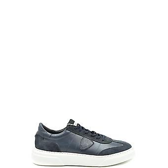 Philippe Model Ezbc019073 Men's Blue Leather Sneakers