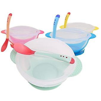 Baby Dinner Training Bowl Spoon Tableware Set, Learning Dishes With Suction Cup