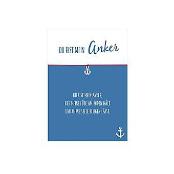 Bracelet du bist mein anker with anchor pendant, flexible textile strap in pink and lovely card: du