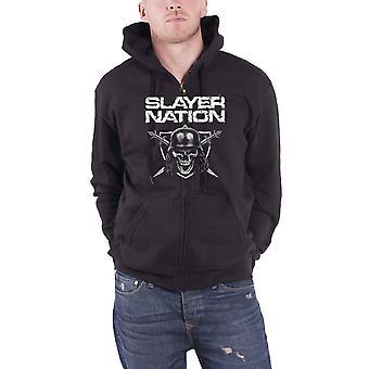 Official Mens Slayer Hoodie Skull Shield Nation Band Logo Black Zipped