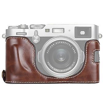 1/4 inch Thread PU Leather Camera Half Case Base voor FUJIFILM X100F (Koffie)