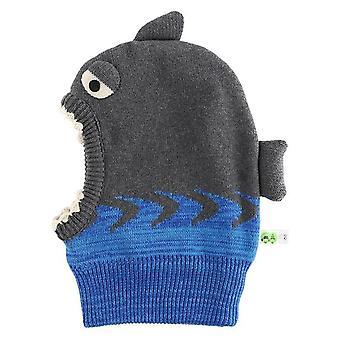 Chapeaux chauds chauds d'hiver tricotés d'enfant en bas âge, capot doublé mignon de requin de dessin animé