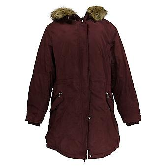 BROOKE SHIELDS Timeless Women's Parka W/ Faux Fur Trim Red A343021