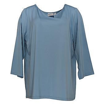 Joan Rivers Classics Collection Kvinder's Top Jersey Strik Tunika Blå A302756