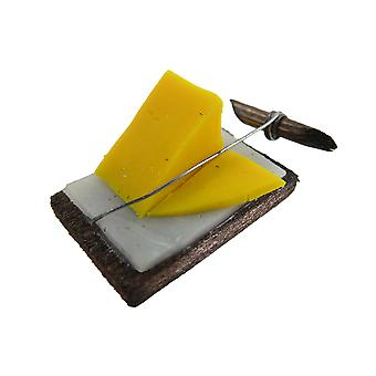 Dolls House Cheese On Cutter Board Miniature Hand Made Shop Kitchen Accessory