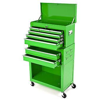 BikeTek Steel Rolling Tool Cabinet Green 8 Drawers Top Chest Box Garage Storage
