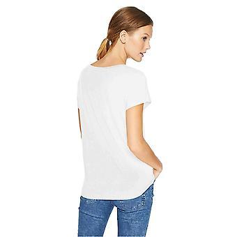 Daily Ritual Kvinder's Jersey Kortærmet Båd Neck Shirt, Hvid, Lille