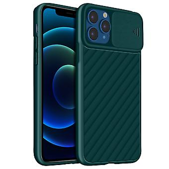 Case for iPhone 12 Pro Max Protection Ribbed finish Sliding camera cover green