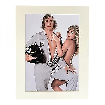 Larrini James Hunt With Pin-up Girl A4 Mounted Photo