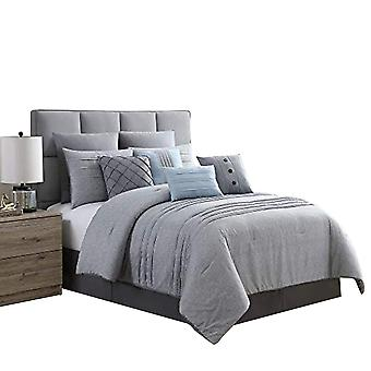 Rhodes Town Textured Print Queen Size Comforter Set With Pleats The Urban Port, Gray