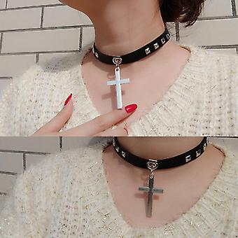 Love Punk Cross Collar Choker Bell Round Necklace