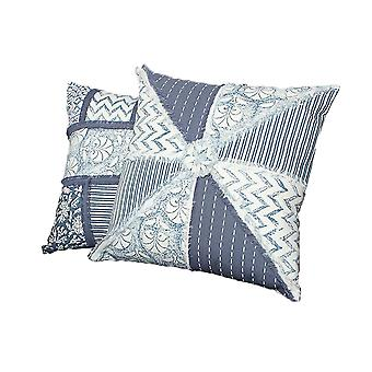 18 X 18 Hand Block Cotton Pillow With Patchwork Details,Set Of 2, Blue And White
