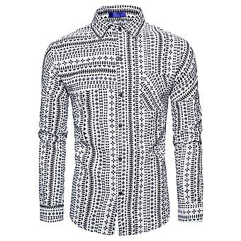Men's Casual Lapel Ethnic Striped Print Long Sleeve Shirt