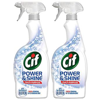 2pk Cif Power & Shine Multi-Purpose with bleach 100% stubborn dirt removal 700ml