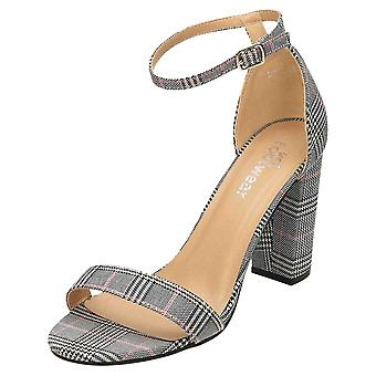 Koi Footwear Open Toe Ankle Strap Shoes Block Heel Dogtooth