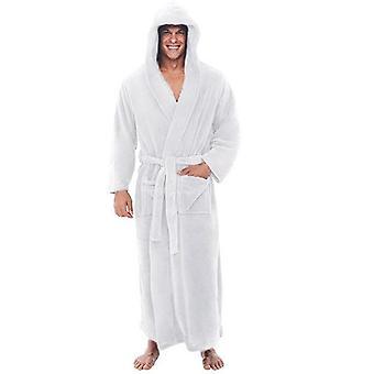 Winter Men Flanela Z kapturem Grube Rekreacyjne Zimowe Jesień Długie Kimono Home Sleepwear