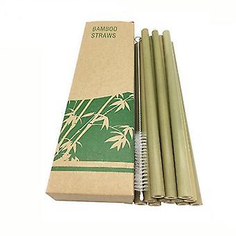 10 Peças de bambu verde natural reutilizável biodegradável ecofriendly bebendo canudos (verde)