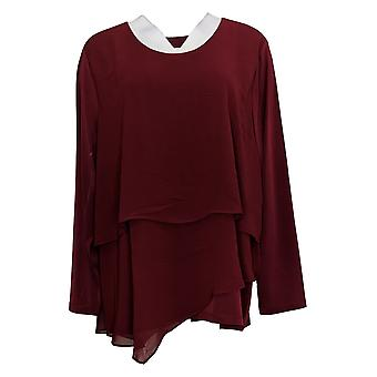 Susan Graver Donna Top Liquid Knit Knit Tiered Chiffon Overlay Rosso A384232