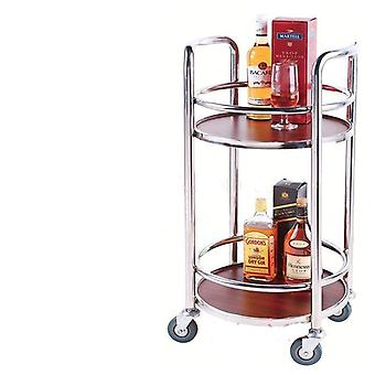 Shop Restaurant Tea Delivery Car Double Round Wine Cart Vice Trolley