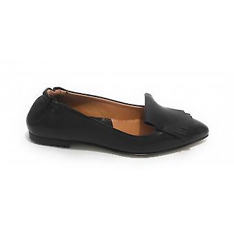 Women's Shoes Elite Ballerina Pointed Leather Color Black With Fringe ds20el05