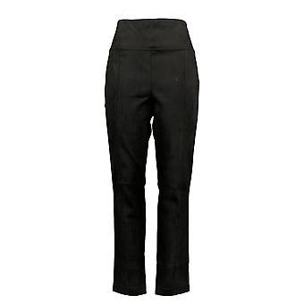 Andrew Marc Women's Taupe Faux Suede Elastic Waist Pants Black