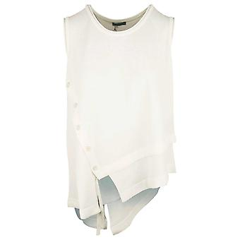 Crea Concept White Sleeveless Fine Knit Top With Button Detail