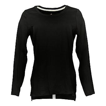 Isaac Mizrahi En direct! Femme Pima Cotton Hi-Low Hem Knit Top Black A389762