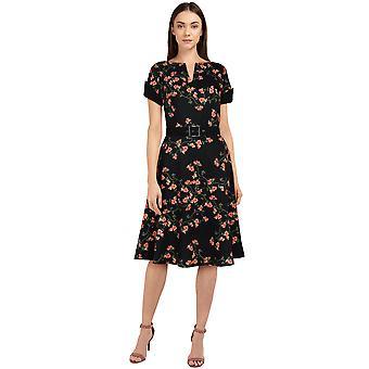 Chic Star Plus Size V-Neck Retro Dress In Black/Floral
