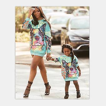 Bluzy z długim rękawem matki córki, zimowa sukienka z długim rękawem