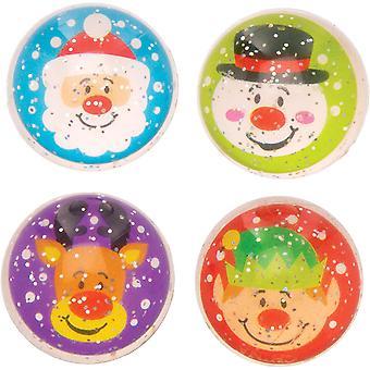 HanFei AT344 Flummi mit Glitzer (8 stuck) Festliche Weihnachtsfiguren fr Kinder, Sortiert