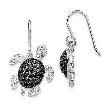 925 Sterling Silver Dangle Shepherd hook Black and White CZ Cubic Zirconia Simulated Diamond Turtle Earrings Measures 24