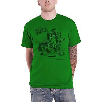 Genesis Mens T Shirt Green Mad Hatter Character band Logo Official