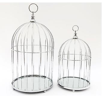 Set of 2 Chrome Mirror Base Birdcages