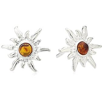 InCollections 0010260010890 - Women's lobe earrings with amber, sterling silver 925