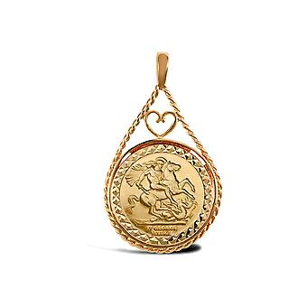 Jewelco London Solid 9ct Gold Love Heart Teardrop Rope St George & Dragon Medallion Pendant (Full Sov Size)