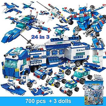 Multiple pieced building blocks with mini robot figures and city police toy blocks for children