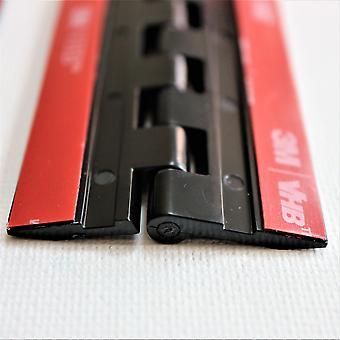 """4x zwarte acryl scharnieren â € """" Geen lijm nodig, zelfklevend. Zwart Kunststof 75mm"""